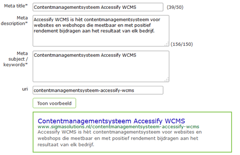 SEO-panel Accessify WCMS